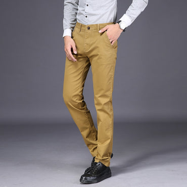 Casual Pants Fashion Slim Cotton Elastic Straight Pants Business Trousers