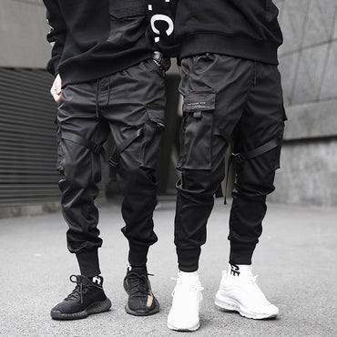 Ribbons Color Block Black Pocket Cargo Pants