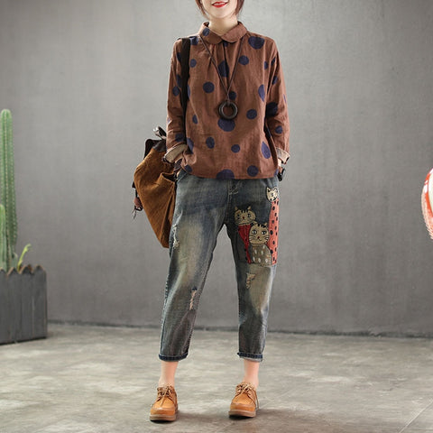 Ladies Jeans Animal Pattern Casual Loose Vintage Denim Harem Pants
