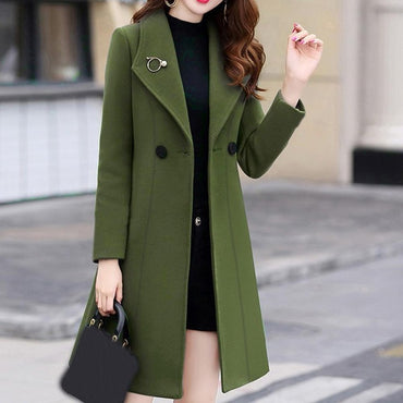 Work Solid Vintage Office Long Sleeve Button Woolen Jacket Coat