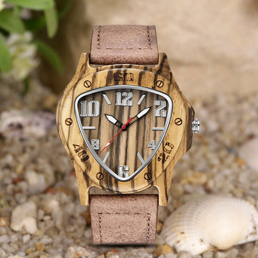 Inverted Triangle Wood Watches Retro Cool Quartz Genuine Leather