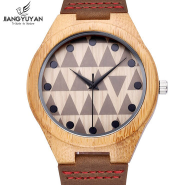 Best Bamboo Natural Wooden Case Genuine Leather Strap Watches