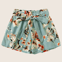 Flowers Print drawstring feminino High Waist Bandage shorts