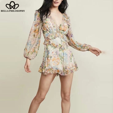 Long Sleeve Boho Playsuits Vintage Print Floral Rompers