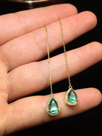 Origin Green Emerald Gemstones Diamonds Drop Earrings
