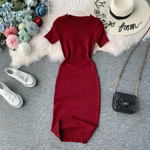 New Short Sleeve Solid Vintage Knit Stretch Waist Elegant Dresses