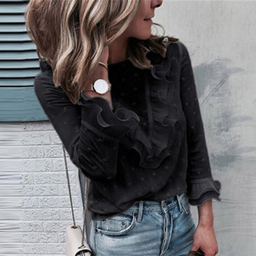 Boho Beach Ruffle  Polka Dot Tops Black Blouses