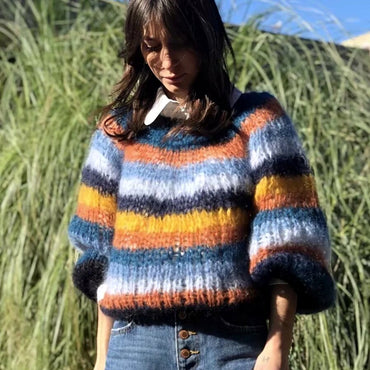 Rainbow Striped Sweater Pullover Multicoloured Mohair Sweaters
