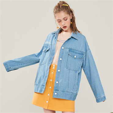 New Ladies Jacket Fashion Stitching Denim Jacket Boho