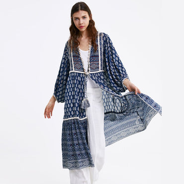 ethnic embroidery lantern sleeve jacket navy linen & cotton
