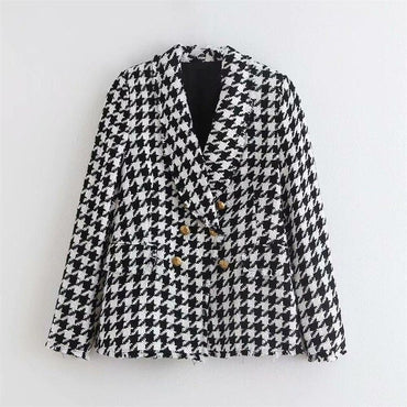 Houndstooth Coat Boho Elegant Double-breasted Pocket Slim Jacket