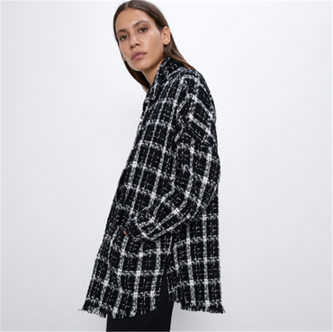 Stitching Fashion Plaid Tweed  Boho Lapel Long Sleeve Coat