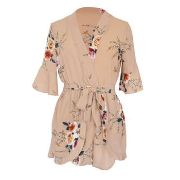 Boho Sexy Fashion Jumpsuit Print v neck Playsuits Overalls Bow Bohemian