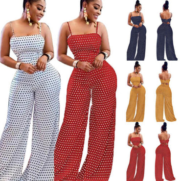 Polka Dot Suspenders Jumpsuits Romper Wide Leg Long Trousers Boho
