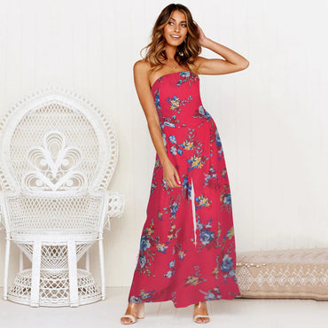 Boho Floral Print Jumpsuits Backless Bow Lace Up Sexy Wide Leg