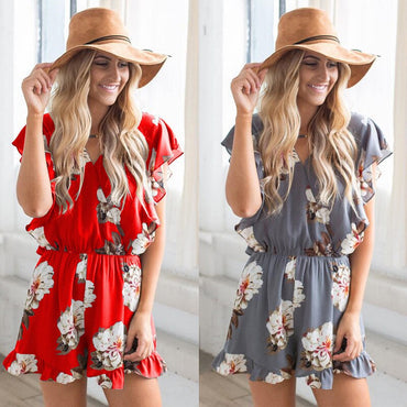 Chiffon Deep V Neck Sexy Playsuits Flare Sleeve Red Floral Jumpsuits