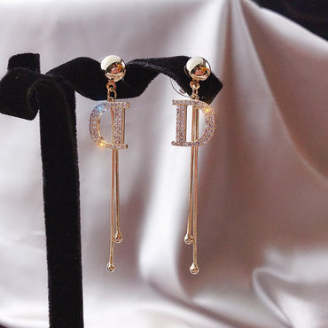 Luxury Brand Tassel Crystal Letter D Long Drop Earrings