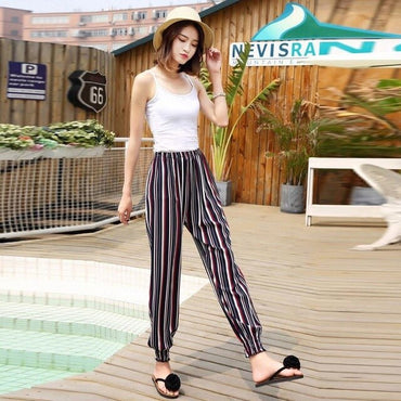 Boho Striped Floral Print Chiffon Trousers High Waist Loose Lantern Pants