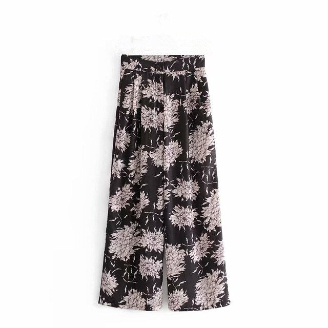 Vintage chic happie floral print bohemian wide leg pants