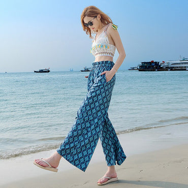 new female boho ethnic style vacation nine-point wide-leg pants