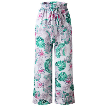 Girl Floral Print Wide Leg Pants Long Casual Pant