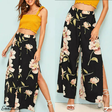 Boho Floral Print High Waist Loose Pants Split Wide Leg