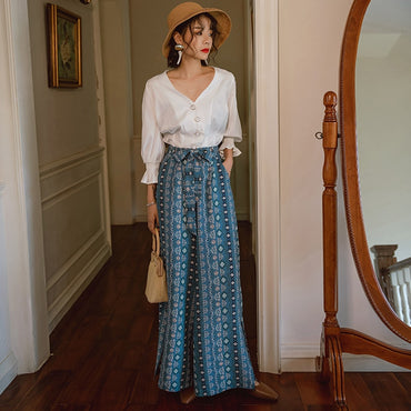 new female boho ethnic style vacation wide leg pants