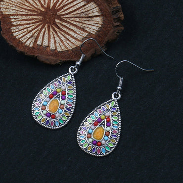 Boho Statement Colorful Seed Beads Enamel Drop Earrings