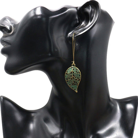 Boho Leaves drop Earring Bohemian Vintage gold green Hollow accessories
