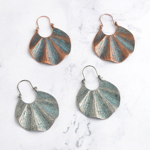 Ethnic drop Earring Bohemian Bronze Vintage Brushed large accessories