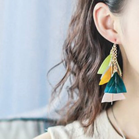 Fashion Boho Colorful Feather Drop Earrings Bohemian Beach Accessories