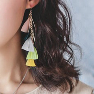 Boho Colorful Feather Drop Earrings Bohemian Beach Long Accessories