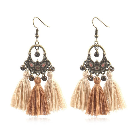 Boho Bohemian Ethnic Handmade Tassel Drop Earrings