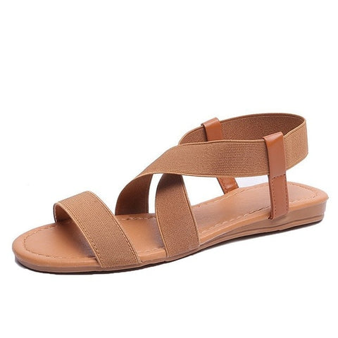 Flat Sandals Shoes Gladiator Open Toe Elastic Flat Sandals
