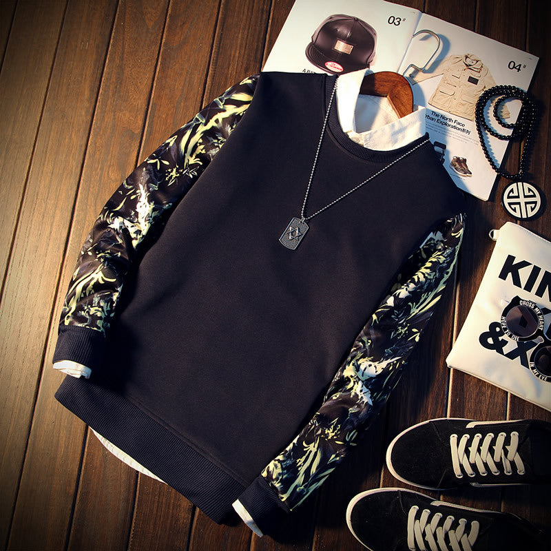 Patchwork Floral Print Long Sleeve O-Neck Cool Hoodies Sweatshirt