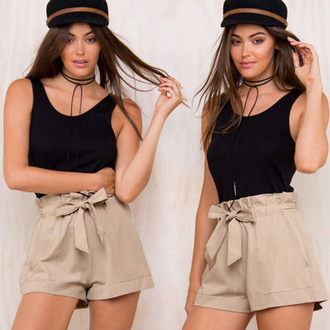 New Fashion Sexy Tie Casual Shorts High Waist Shorts