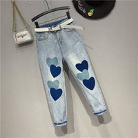 No Belt! New Nice Denim Jeans Hearts Print Capris Jeans