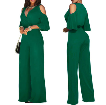 Sexy Off Shoulder Flare Sleeve Palazzo Wide Leg Pants Jumpsuit