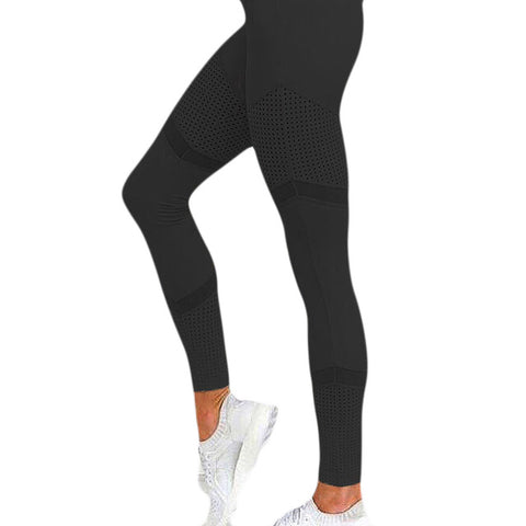 Solid High Waist Heart Workout Pants Mesh Leather Leggings