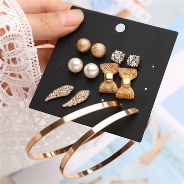 Sets Gold Silver Small Big Circle Earrings