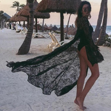 Swimsuit Bikini Cover Up Sexy Beach Cover Up Lace Floral Kimono