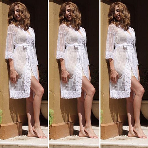 New Nightgowns Sexy Sleepwear Maxi Lace Robe Long Bathrobe Kimono