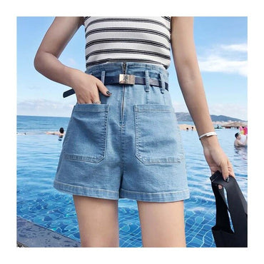 denim short high waist pockets mini  jean shorts