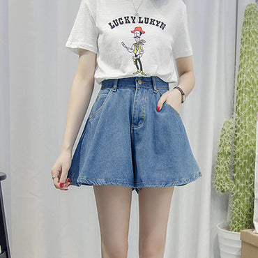 Streetwear Denim Shorts High Waist Wide Leg Shorts