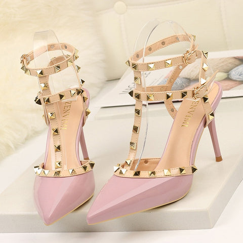 Rivet High Heels Luxury Designer Shoes Ladies