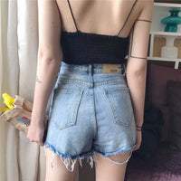 denim booty shorts high waist sexy shorts