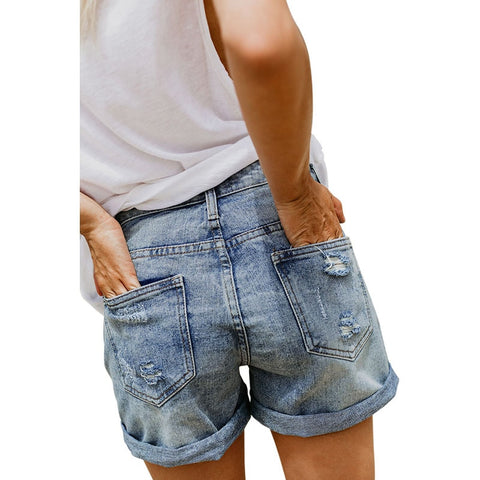 Vintage Faded Jeans Female Rolled Cuff Distressed Denim Shorts
