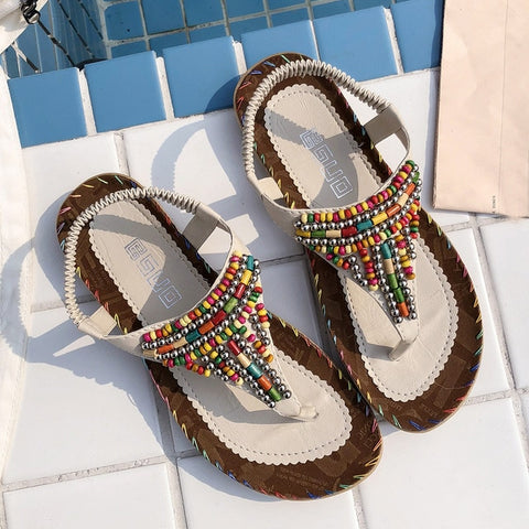 Flat Sandals Bohemian String Bead Shoes