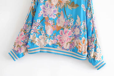 floral print rayon bohemian Coats Large Size Waterproof
