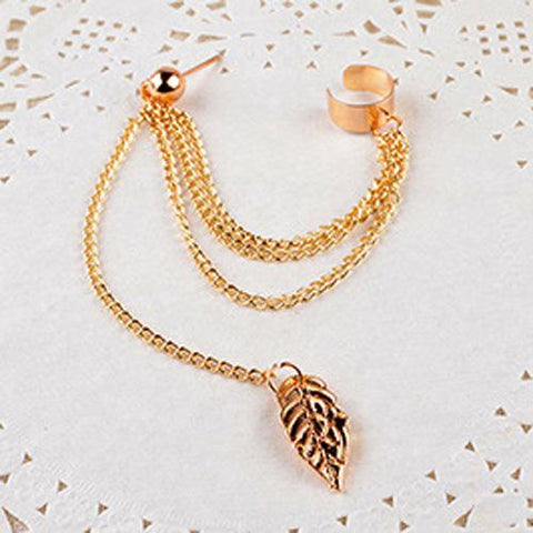 Jewelry Fashion Personality Metal Ear Clip Leaf Tassel Earrings